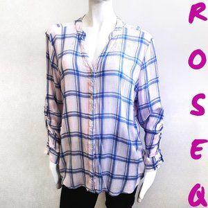 Kenneth Cole REACTION pink/blue plaid blouse